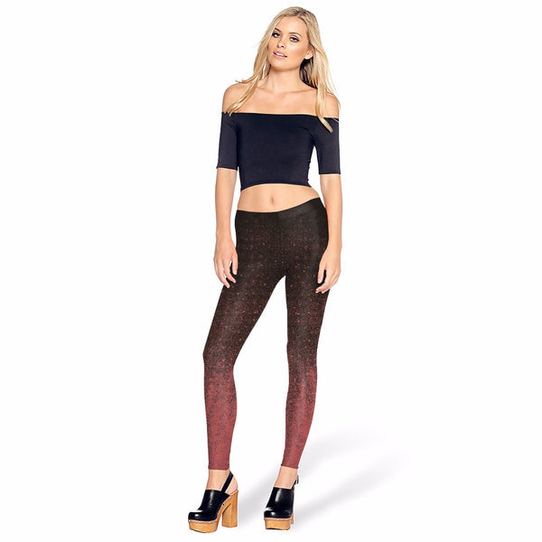 Black And Red Gradient Leggings for Women