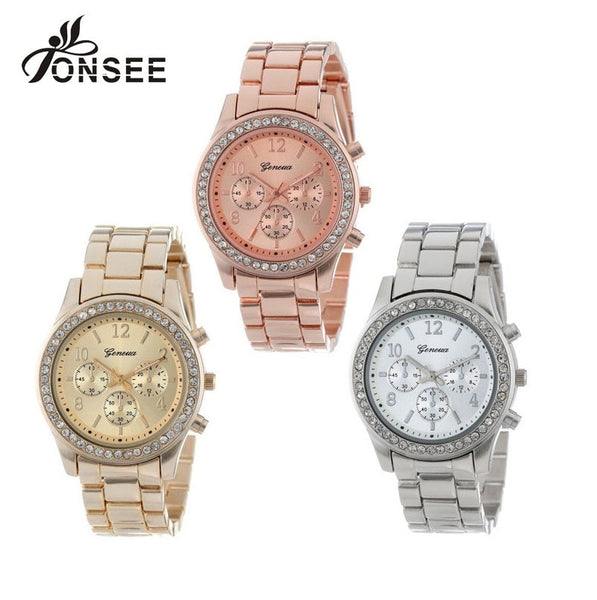 Geneva Watch Unisex Full Steel Fashion Quartz Watches
