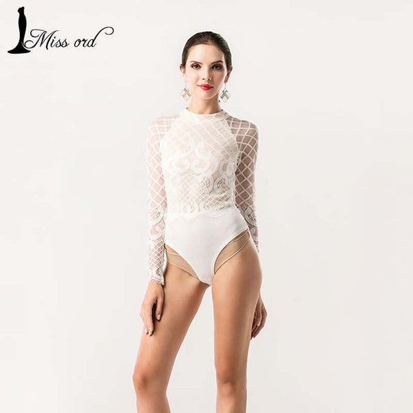 Sexy O-neck long-sleeved Lace stitching bodysuit playsuit - Stylished Shop