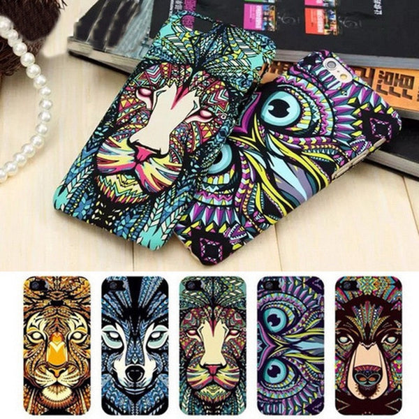 Brand Animals Lion Wolf Owl Pattern Hard Back Phone Case For iPhone se 5s 6 6s 7 Plus Glow In The Dark Luminous Forest King Case - Stylished Shop