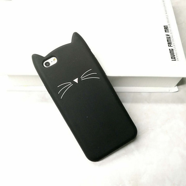 Hot Sale! 3D Cute Black Cat Ears Beard Phone Cases For iphone 5 5s Se 6 6S 6Plus 7 7Plus Soft Silicone Cartoon Cover Funda Coque - Stylished Shop