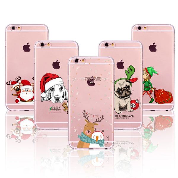 Lovely Christmas New Year Soft Phone Cover Case For iPhone 6 6S 7 5 5S SE 7plus 6Plus 6SPlus 4S Present Dog Deer Animal Celular - Stylished Shop