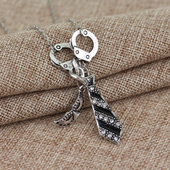 Free Shipping Fifty Shades of Grey Darker Freed Christian Charm Necklace Handcuffs - Stylished Shop