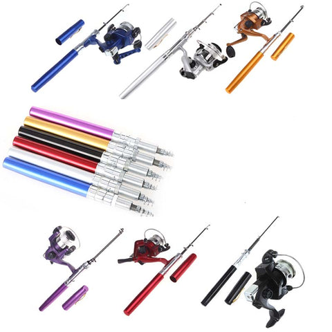 Mini Portable Aluminum Fishing Rod - 6 Colors
