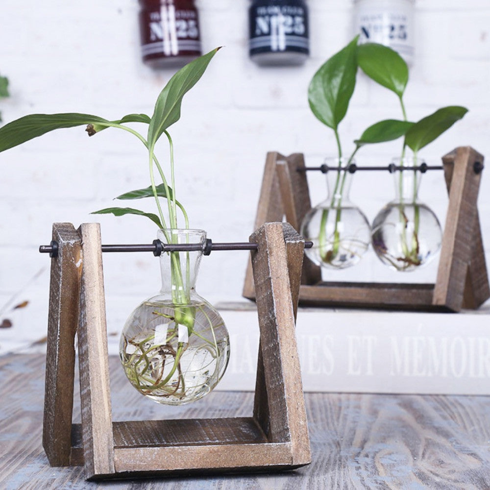 Glass Tabletop Vase With Wooden Tray For Hydroponic Plants | All About Dads