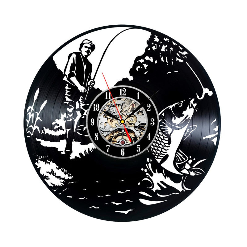 Fishing Vinyl Record Wall Clock Handmade All About Dads