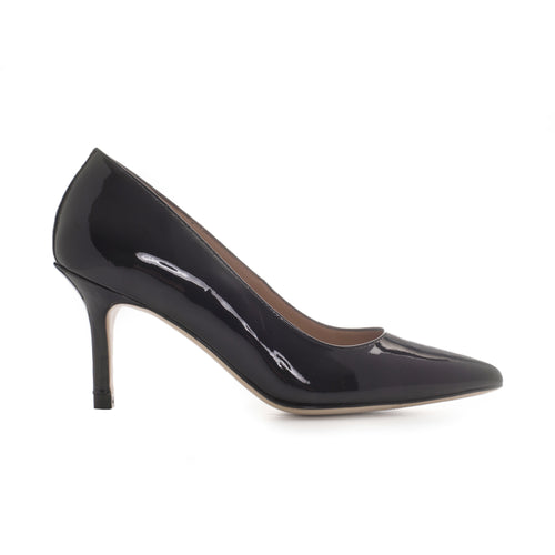Black leather mid heel pump/court shoe by SHUTICA