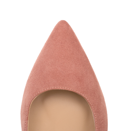 Luxurious Rose Suede Leather Flats by SHUTICA