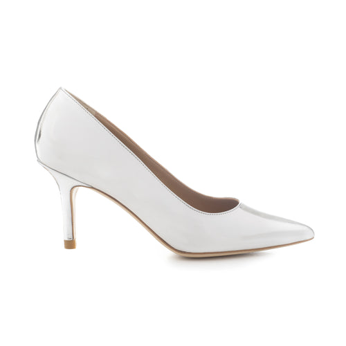 Luxurious Mid heel court shoe in silver leather by SHUTICA