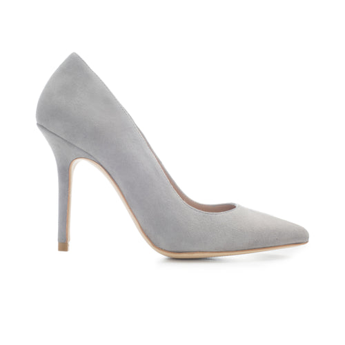 Luxury leather high heel in grey suede by SHUTICA