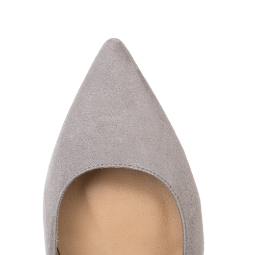 Premium leather grey suede flat shoes by SHUTICA