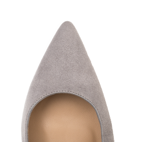 Luxurious Mid heel court shoe in grey leather by SHUTICA