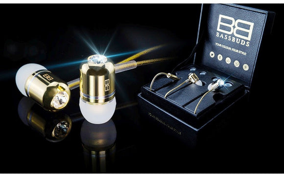 Bassbuds: 24ct Gold & Crystal in-ear headphones