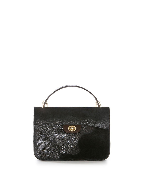 Pia Sassi: Black Leather Moc-Croc Grab Bag