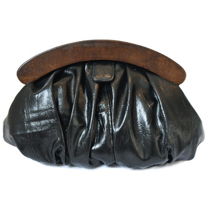 Olga Berg Gathered Leather Clutch Bag