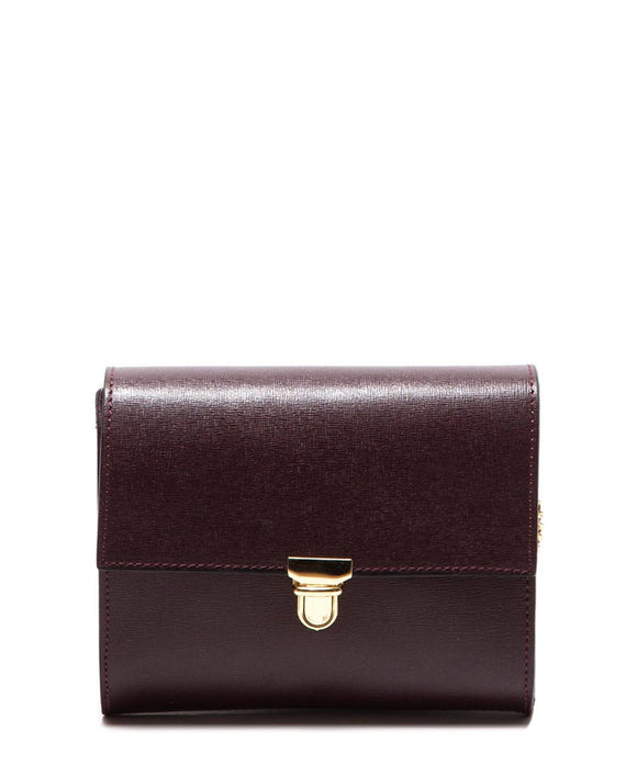 Roberta M: Wine Leather Chain Cross Body Bag
