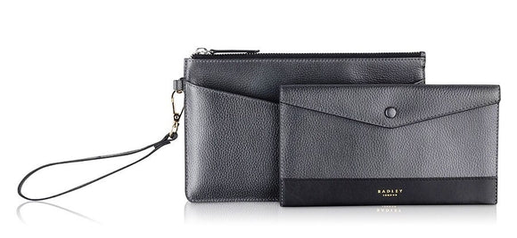 Radley Star Gazer Pewter Leather Wristlet