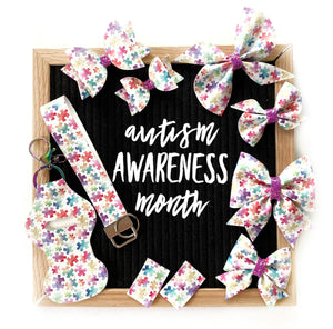 Autism Awareness Toddler Hair Bow Set