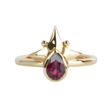 Little Star Ring || Italian Brass & Rhodolite Garnet