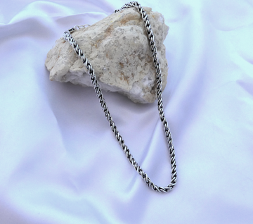 Chunky braided chain necklace / Silver