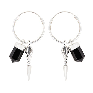 Rock 'n' Rolla Charmed Earrings // Medium Hoop
