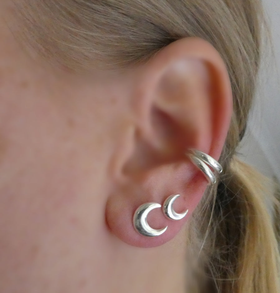 Mini Crescent Moon Studs || Sterling Silver