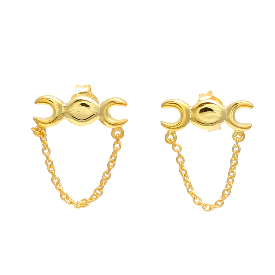9CT GOLD VERMEIL TRIPLE GODDESS STUDS