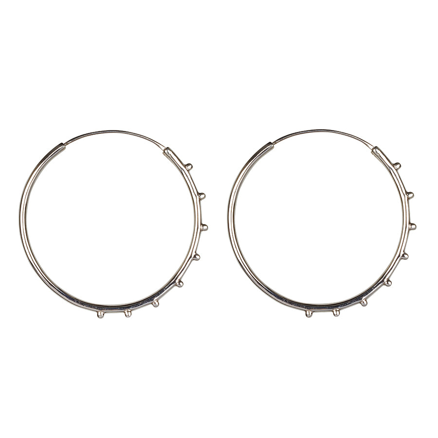 North Star Stud Hoops || Silver || Spinel