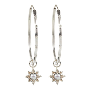 North Star Stud Hoops || Silver || Pearl