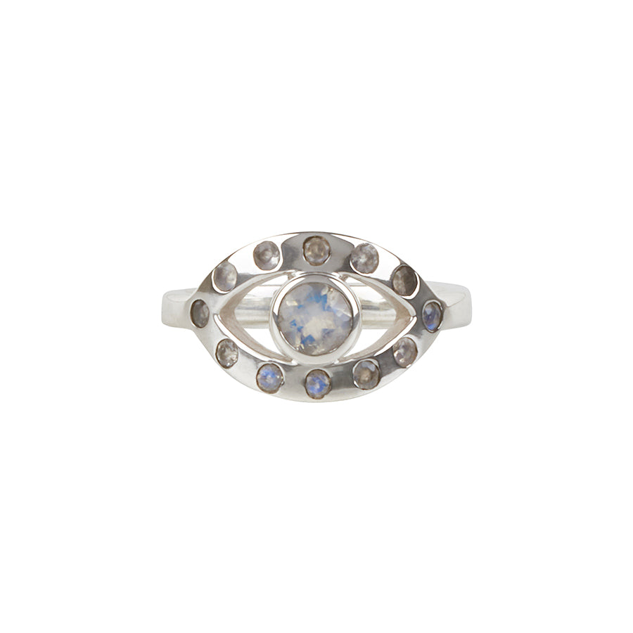 Ajna Ring || Sterling Silver || Rainbow Moonstone