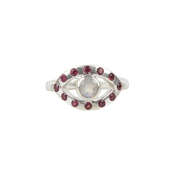 Ajna Ring || Sterling Silver || Garnet