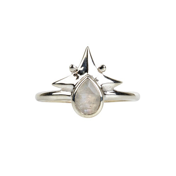 Little Star Ring || Silver & Rainbow Moonstone