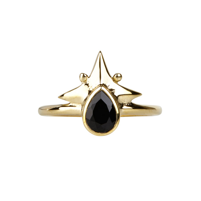 Little Star Ring || Gold & Black Onyx