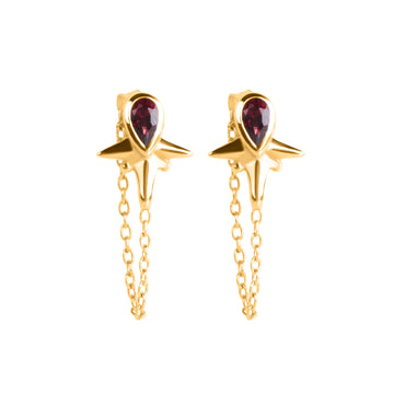 Little Star Chain Stud Gold // GARNET