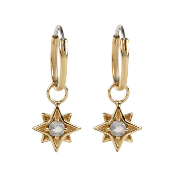 North Star Hoops Small || Gold || Moonstone