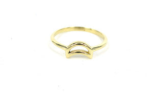 Crescent moon knuckle ring // Italian Brass