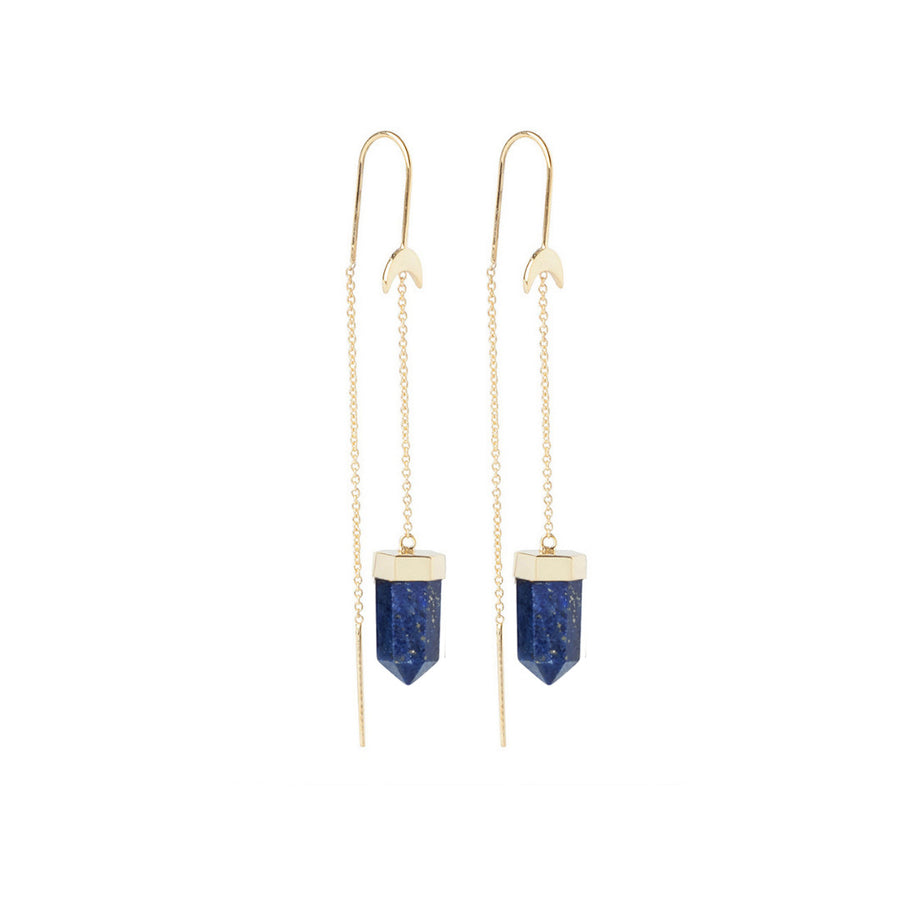 Thread Earrings || Gold & Lapis Lazuli