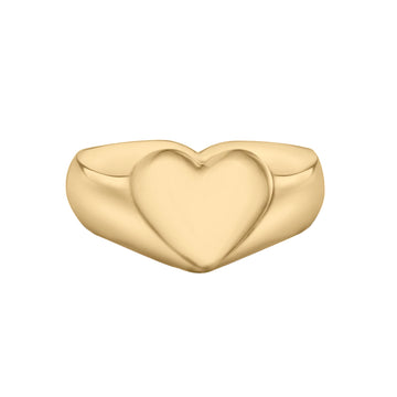 Baby Heart Signet Ring // Gold