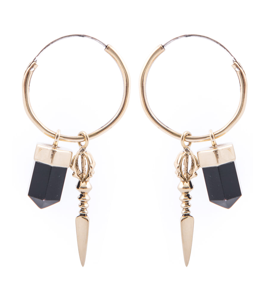 Rock 'n' Rolla Charmed Earrings // Medium hoops