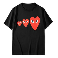 3 red Hearts!Short Sleeve T-shirt, Unisex Tees, Couple's T-shirt, Street Fashion Tee comme des garçons play