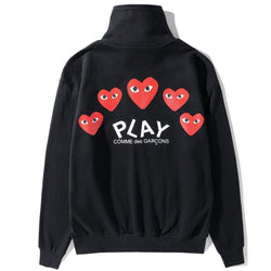 5 red Hearts! Long Sleeve Zippered Jacket Sweatshirt, Unisex Tops, Unisex T-shirt, Sweater Tee Play
