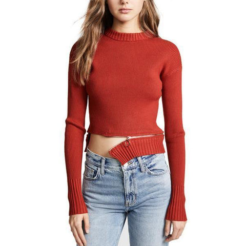 Annie Zipper! Long Sleeve Cropped Knitting Tops, Women Sweater Knitwear, For Love & Lemons-TownTiger