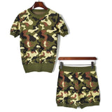 Army Camouflage! Short Sleeve Knitted Sweater Tops and Short 2-Piece Set, Women Knitwear, Summer Knit-TownTiger