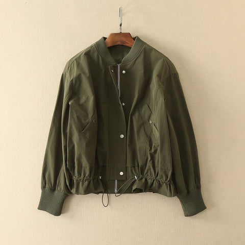 Army Green! Solid Color Boyfriend Style Baseball Jacket, Women Dresses, Bomber Jacket-TownTiger