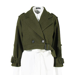 Army Officer! Double Breasted Military Style Green Woolen Jacket Tops, Winter Women Tops-TownTiger