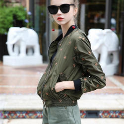 Army Stars! Embroidered Baseball Jacket with Stars, Women Dresses, Bomber Jacket Tops-TownTiger