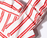 Asymmetric Striped Shirt! Red Striped Sleevelss Shirt, Women Shirts, Women Tank Tops-TownTiger