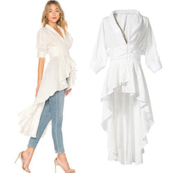 Asymmetric White Shirt Dress! White Long Shirt, Women Shirts, Women Blouse Tops-TownTiger