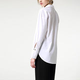Asymmetric White Shirt! Solid Color Simple White Shirt, Women Shirts, Women Blouse Tops-TownTiger