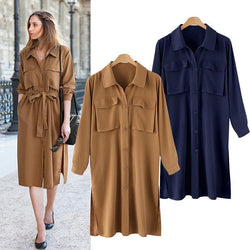 Autumn! Long Sleeve Loose Fitting Coat Dress, Women Dress Plus Size English Style-TownTiger